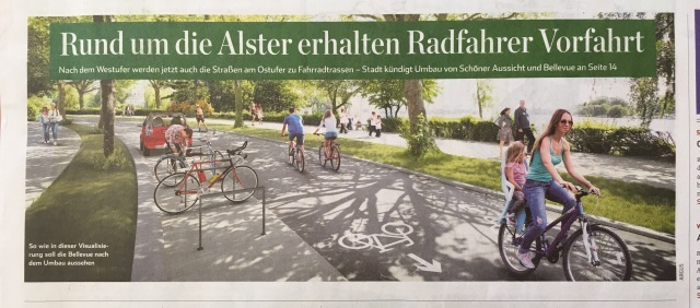 Auch an der Alster werden Radstraßen angelegt, berichtet das Hamburger Abendblatt. Wir würden das auch gerne für Lüneburg berichten. Screenshot: aus dem Hamburger Abendblatt