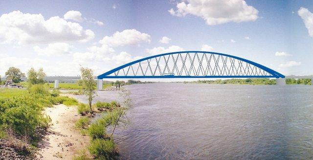 Grafik der geplanten Brücke Elbbrücke zwischen Neu Darchau und Darchau. A/t&w