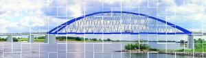 Bisher nur eine Grafik, die gezeichnete Elbbrücke über die Elbe.