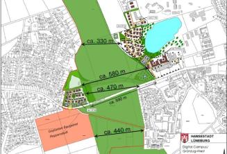 Plan-Skizze Grüngürtel West und der umstrittene Digital-Campus inklusive Wohnbebauung. Skizze: Stadt Lüneburg