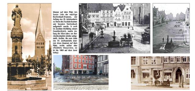 Tränken und Brunnen gehörten lange zum Platz Am Sande. Das letzte war ein Löschwasserbrunnen in einer hässlichen Waschbeton-Einfassung bis Anfang der 70er-Jahre.