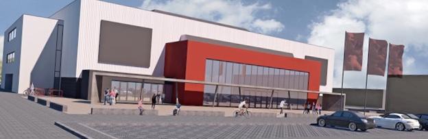 So soll die Arena, die bis zu 3.500 Zuschauer aufnehmen kann, nach aktuellen Plänen aussehen. Grafik: LKLG, Architekturbüro Bocklage & Buddelmeyer