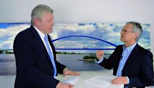 Wirtschafts- und Verkehrsminister Bernd Althusmann im März 2018 bei seinem Interview mit Hans-Herbert Jenckel, in dem er Planungsgeld für die Elbbrücke in Aussicht gestellt hat.
