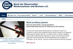 """Unter der Headline """"Nicht ins Blaue planen!"""" steht die Kritik des Bundes der Steuerzahler auf der Homepage."""
